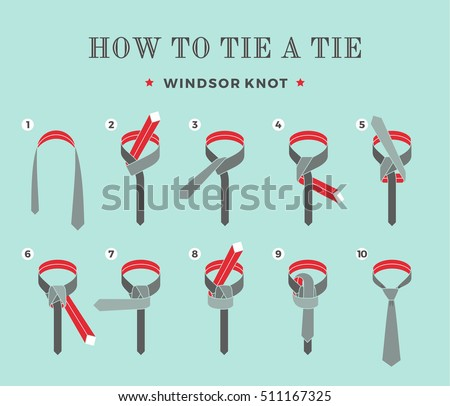 Instructions on how to tie a tie on the turquoise background of the eight steps. Windsor knot. Vector Illustration