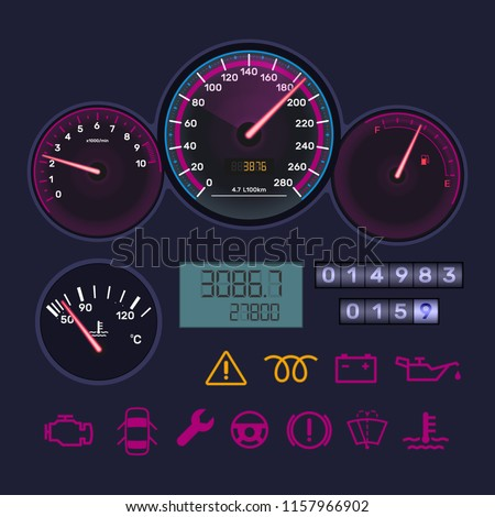 Instrument dashboard, with vehicle tachometer, car speedometer, scale of level gasoline, distance in kilometers, chrome-plated neon board. Technological sensor panel with arrows. Vector illustration.