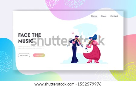 Instrumental Music Duet Ensemble Website Landing Page. Musicians with Instruments Perform on Stage with Violins, Classical Musical Concert Performance Web Page Banner. Cartoon Flat Vector Illustration