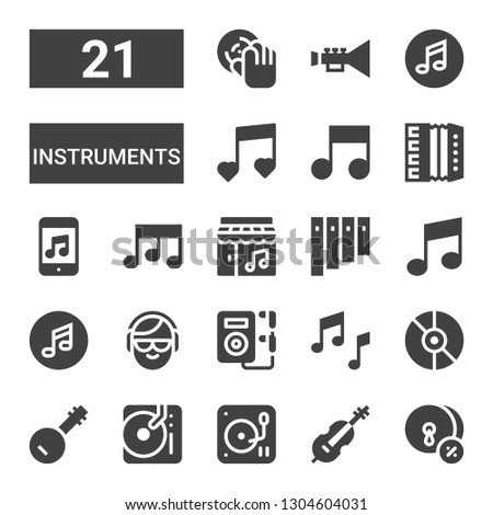 instruments icon set. Collection of 21 filled instruments icons included Cymbals, Cello, DJ, Banjo, Music, Panpipe, Accordion, Trumpet