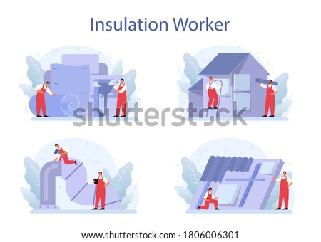 Insulation concept set. Thermal or acoustic insulation. Construction industry, Worker putting insulation materials. Construction service, house renovation. Isolated flat vector illustration
