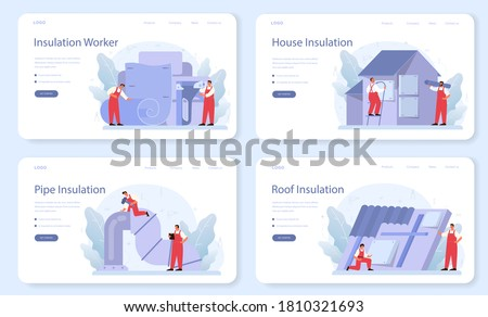 Insulation web banner or landing page set. Thermal or acoustic insulation. Construction industry, Worker putting insulation materials. Construction service. Isolated flat vector illustration
