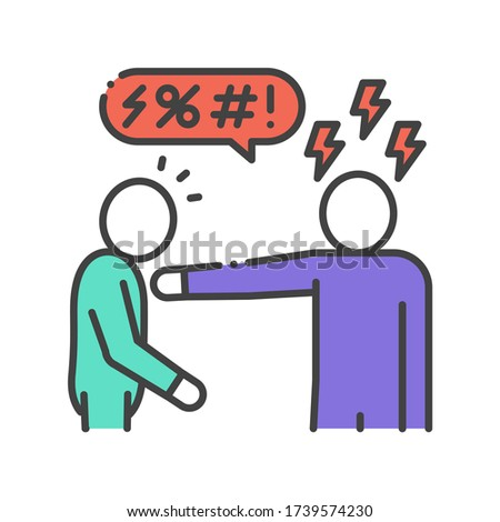 Insult color line icon. Verbal bullying. Harassment, social abuse and violence. Sign for web page, mobile app, button, logo. Editable stroke. Stock photo ©