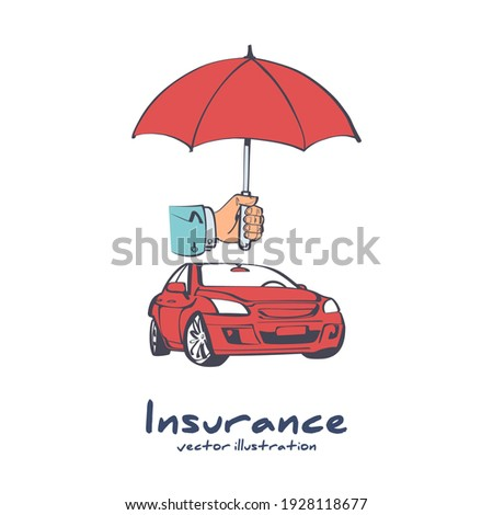 Insurance car. Cartoon style umbrella that protects the car. Safety auto concept. Vector illustration sketch icon design. Isolated on white background. Vehicle protection.  Сток-фото ©