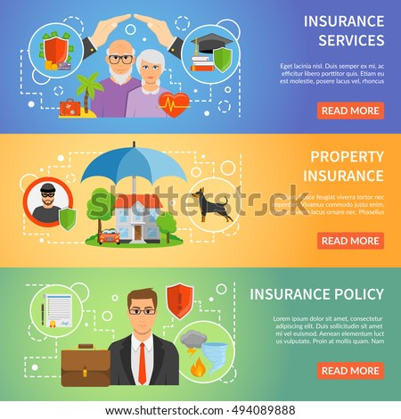 Insurance company services policy online information 3 flat horizontal banners set webpage design abstract isolated vector illustration