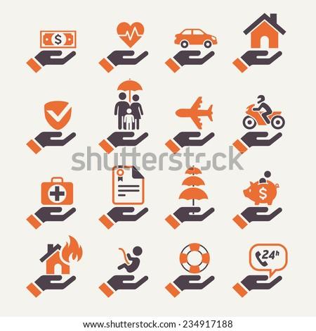 Insurance hand icons set. Vector Illustration.