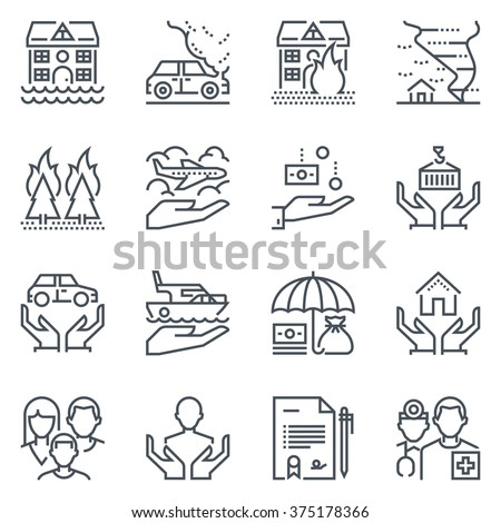 Insurance  icon set suitable for info graphics, websites and print media. Black and white flat line icons.