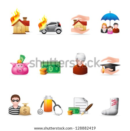 Insurance  icons in colors - stock vector
