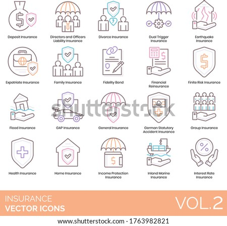 Insurance icons including deposit, director and officer liability, divorce, earthquake, expatriate, family, fidelity, reinsurance, finite risk, flood, GAP, general, income protection, inland marine.