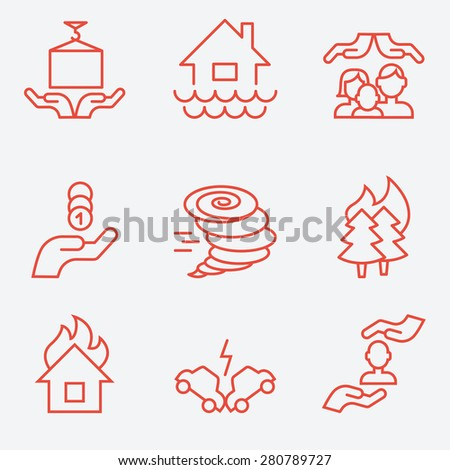 insurance icons  thin line