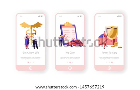 Insurance Mobile App Page Onboard Screen Set, Property, Car and Health Protection Paper Sign, Money Guarantee, Transport , Home, Life Concept for Website or Web Page, Cartoon Flat Vector Illustration