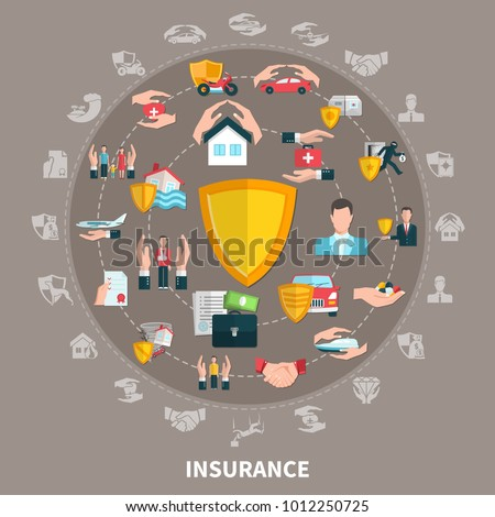 Insurance of business, health, travel, property and transport, round composition on grey brown background vector illustration