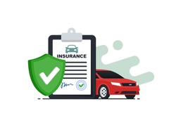 Insurance policy concept.Document report with shield and car. Vector illustration in flat srtyle.