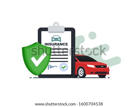 Insurance policy concept.Document report with shield and car. Vector illustration in flat srtyle. Foto stock ©