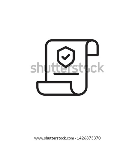 Insurance Policy Icon. Contract Coverage icon. Insurance policy symbol in flat style. Report vector illustration on white isolated background. Document business concept.