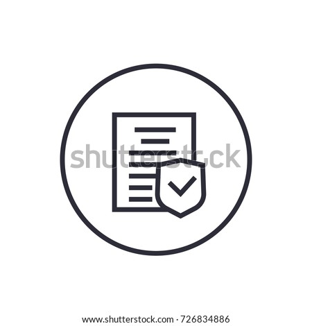 insurance policy icon, linear on white