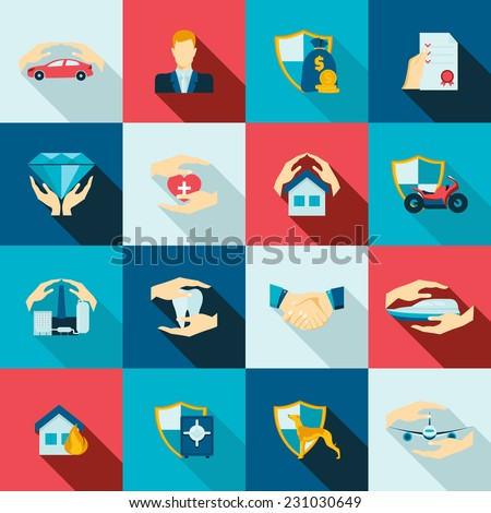 Insurance security icons flat set of life safety disaster events isolated vector illustration