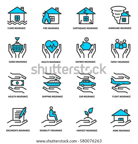 Insurance service outline icons set for banner, website, print, interface