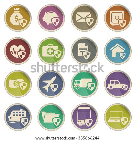 insurance simply vector icon set