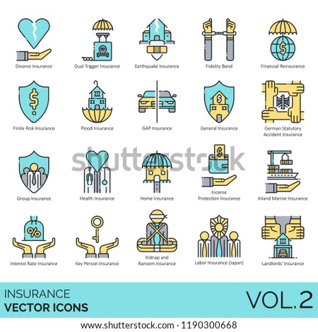 Insurance vector icons. Divorce, dual trigger, earthquake, fidelity bond, financial, finite risk, flood, gap, health, home, inland marine, interest rate, key person, kidnap and ransom, labor, landlord