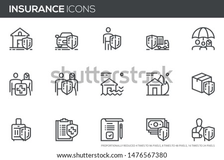 Insurance vector line icons set. Health insurance, life and property protection . Editable stroke. Perfect pixel icons, such can be scaled to 24, 48, 96 pixels.