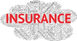 Insurance word cloud isolated on a white background