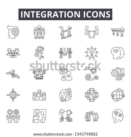 Integration line icons for web and mobile design. Editable stroke signs. Integration  outline concept illustrations