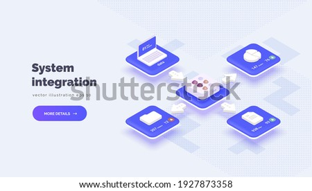 Integration system between different platforms with access to information. Digital technologies. Data transmission and protection. Vector illustration isometric style, 3D