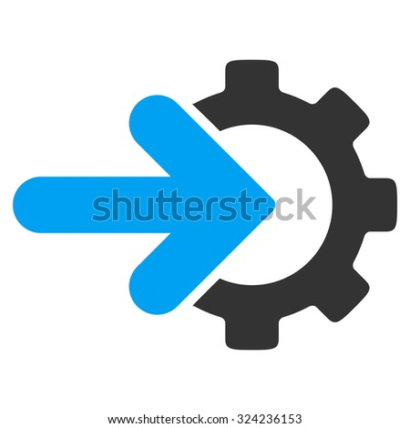 Integration vector icon. Style is bicolor flat symbol, blue and gray colors, rounded angles, white background.