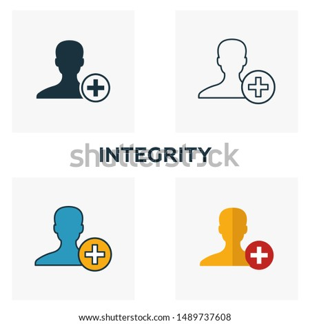 Integrity icon set. Four elements in diferent styles from business ethics icons collection. Creative integrity icons filled, outline, colored and flat symbols.