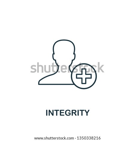 Integrity icon. Thin line design symbol from business ethics icons collection. Pixel perfect integrity icon for web design, apps, software, print usage.