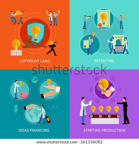 Intellectual property design  concept set with patenting  copyright and financing ideas symbols  vector illustration