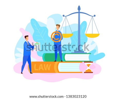 Intellectual Property Lawyer Flat Illustration. Man Showing Patent, License Document Cartoon Vector Character. Justice Scales, Legal Books Isolated Design Elements. Advocate Holding Trademark Symbol