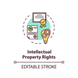 Intellectual property rights concept icon. Invention patent. Company trademark. Copyrights protection idea thin line illustration. Vector isolated outline RGB color drawing. Editable stroke