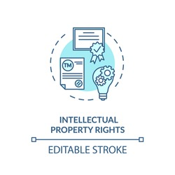 Intellectual property rights concept icon. Invention patent. Company watermark. Copyrights protection idea thin line illustration. Vector isolated outline RGB color drawing. Editable stroke