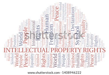 Intellectual Property Rights word cloud. Word cloud made with text only.
