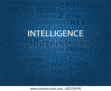 Intelligence, typography background - stock vector