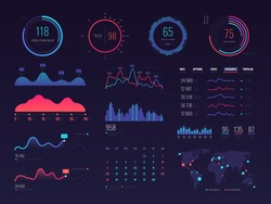 Intelligent technology hud vector interface. Network management data screen with charts and diagrams. Interface screen with colored infographic digital illustration