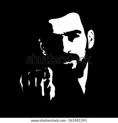 intense dark shadow portrait of