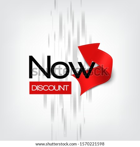 Intensive red curved paper arrow banner Discount Now on grey background with abstract lines.  Realistic style. Banner is for advertising campaigns and sales. Stock vector illustration.
