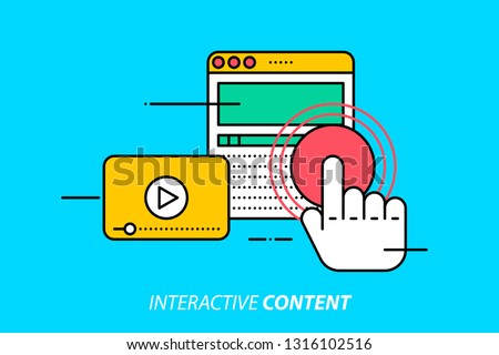 Interactive content. Colorful illustration on bright cyan background. Modern outline style.