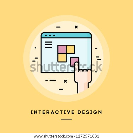 Interactive design, flat design thin line banner, usage for e-mail newsletters, web banners, headers, blog posts, print and more. Vector illustration.