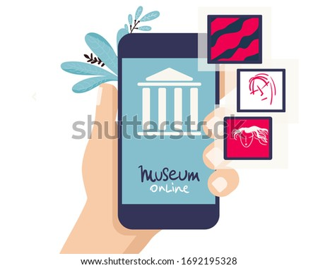 Interactive museum exhibition. smartphone. Virtual Museum online and Art Gallery Tours in Smartphone. Online Tours. Vector flat concept