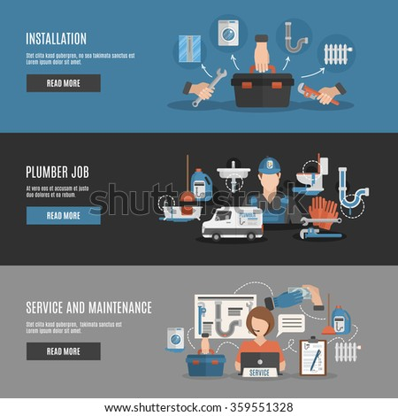 Interactive webpage design for plumber installation repair and maintenance service flat horizontal banners set abstract vector illustration