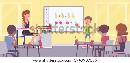 Interactive whiteboard, smart board learning and presentation for school. Boy standing at touchscreen in front of classroom, doing math adding and subtracting. Vector flat style cartoon illustration