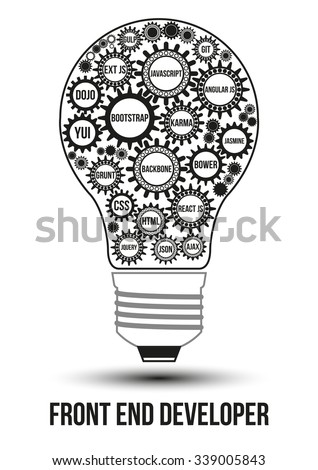 Interconnected black front end technology gears composed in form of light bulb to symbolize idea of collaborative work to solve any problem. Use for logotypes, business identity, print products.