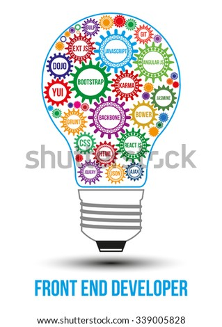 Interconnected colored front end technology gears composed in form of light bulb to symbolize idea of collaborative work to solve any problem. Use for logotypes, business identity, print products.