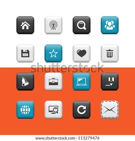 Interent and blog icons. Buttons