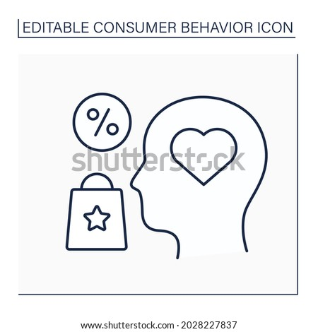 Interest line icon. Customer interest about goods and services. Research personal customer preferences. Marketing. Consumer behavior concept. Isolated vector illustration. Editable stroke