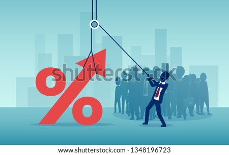 Interest rates, banking and real estate concept. Vector of a businessman pulling up a percentage symbol on a background of corporate crowd of people and cityscape